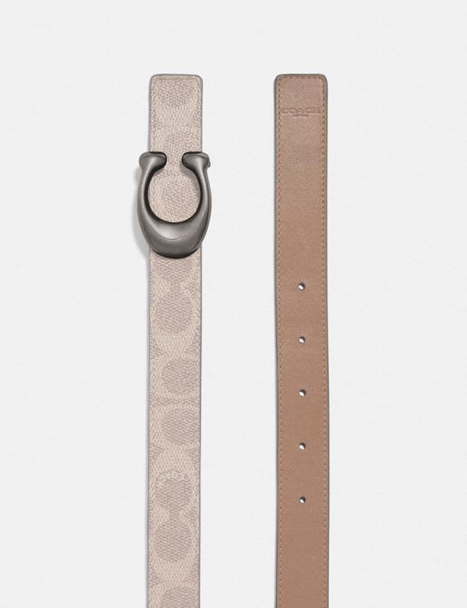 Coach Signature Buckle Reversible Belt, 25mm Nickel/Sand Taupe New Women's New Arrivals Alternate View 1