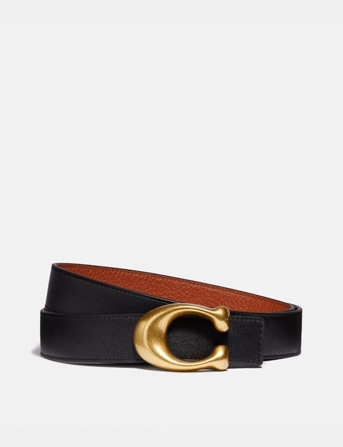 Coach Signature Buckle Reversible Belt, 32mm Black/1941 Saddle/Brass Women Accessories Belts