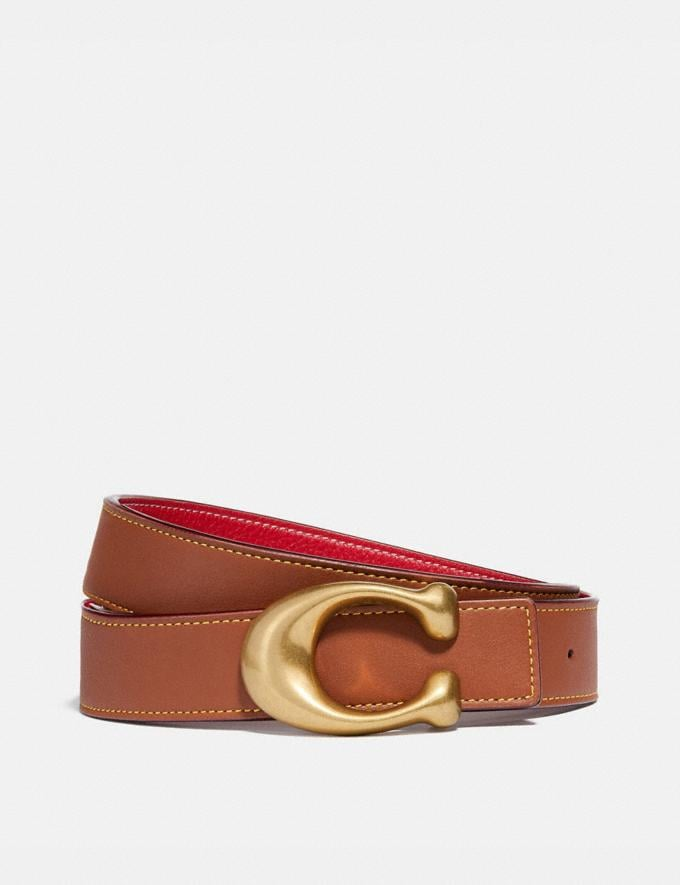 Coach Signature Buckle Reversible Belt, 32mm 1941 Saddle/1941 Red/Brass Women Accessories Belts