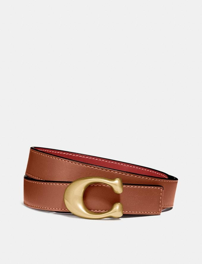 Coach Signature Buckle Reversible Belt, 25mm 1941 Saddle/1941 Red/Brass Women Accessories Belts