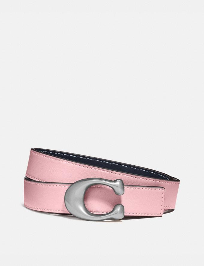 Coach Signature Buckle Reversible Belt, 25mm Nickel/Aurora Midnight Navy Women Accessories