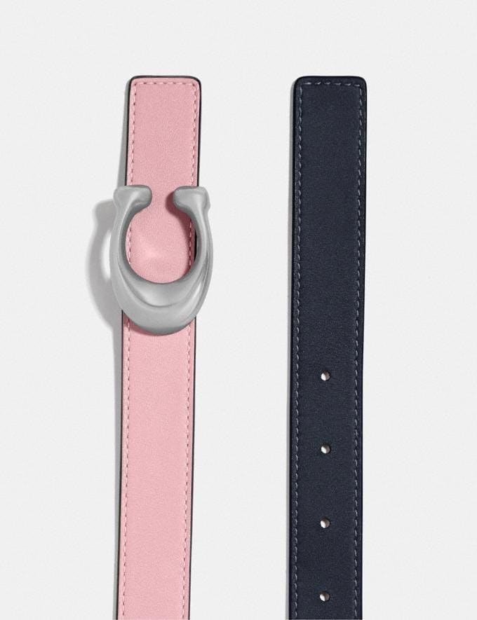 Coach Signature Buckle Reversible Belt, 25mm Nickel/Aurora Midnight Navy Women Accessories Alternate View 1