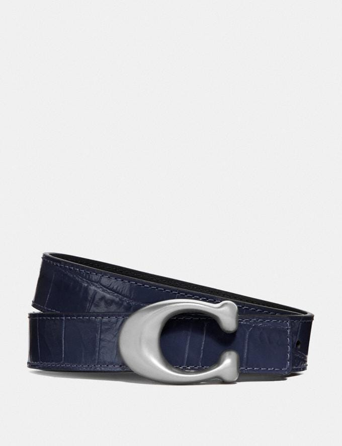 Coach Signature Buckle Reversible Belt, 25mm Ink Black SALE Women's Sale Accessories
