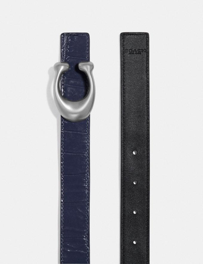 Coach Signature Buckle Reversible Belt, 25mm Ink Black SALE Women's Sale Accessories Alternate View 1