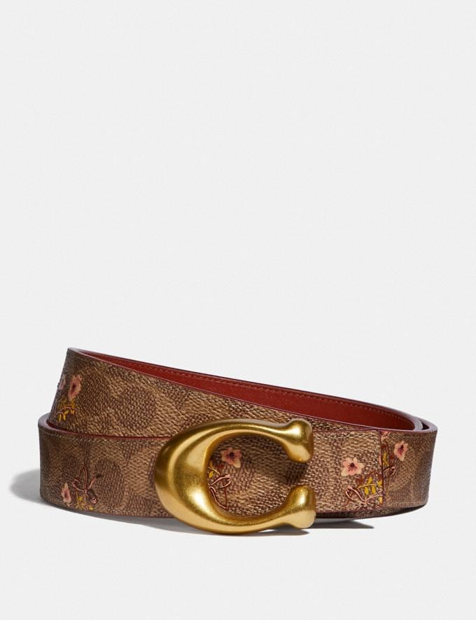 Coach Sculpted Signature Reversible Belt in Signature Canvas Tan/Rust/Brass