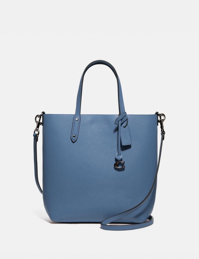 Coach Central Shopper Tote Gunmetal/Stone Blue Women Handbags Diaper Bags