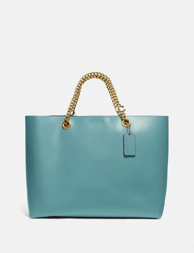 Coach Signature Chain Central Tote Brass/Marine New Women's New Arrivals