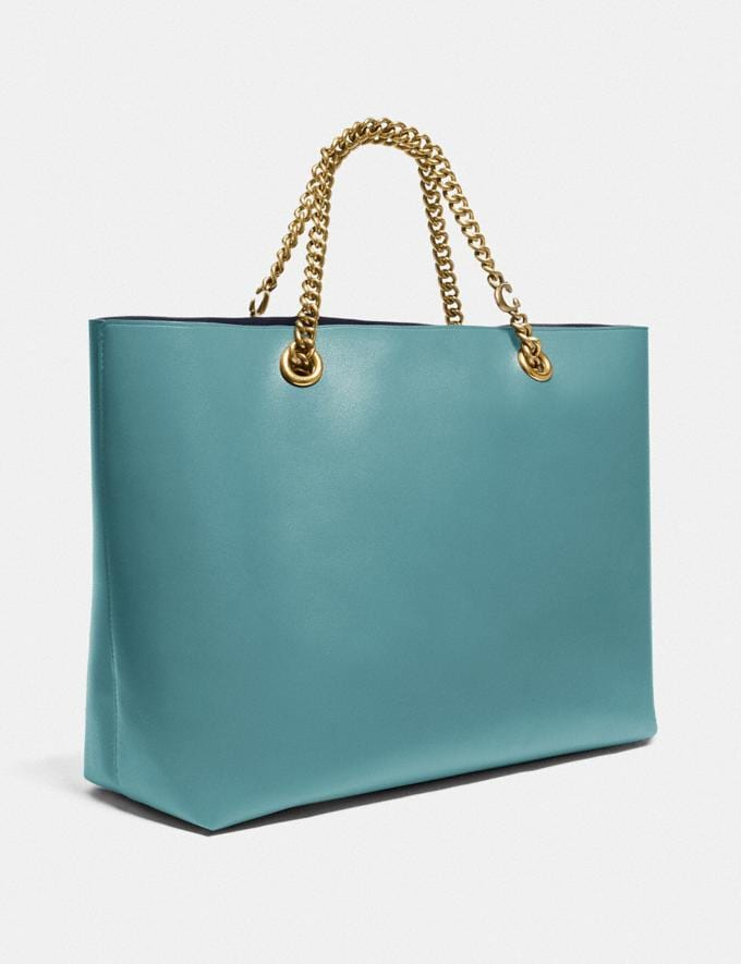 Coach Signature Chain Central Tote Brass/Marine New Women's New Arrivals Alternate View 1