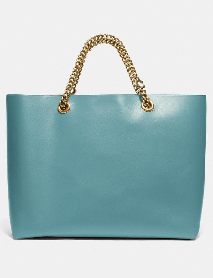 Coach Signature Chain Central Tote Brass/Marine New Women's New Arrivals Alternate View 2