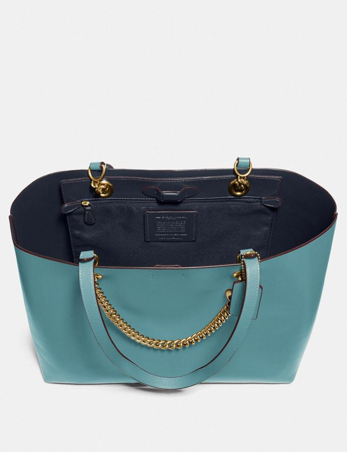 Coach Signature Chain Central Tote Brass/Marine New Women's New Arrivals Alternate View 3