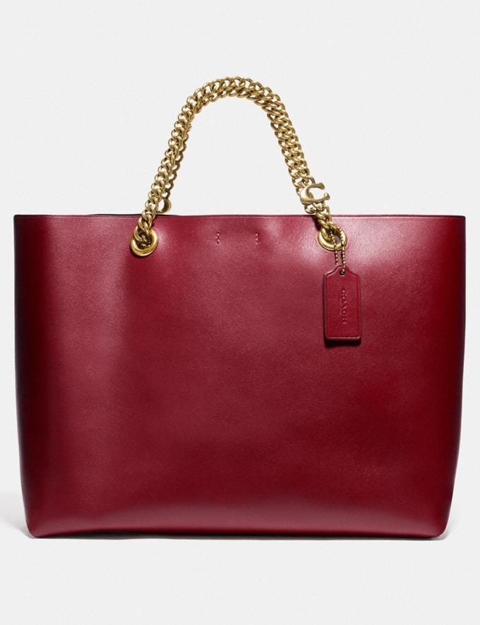 Coach Signature Chain Central Tote Brass/Deep Red Women Edits Work