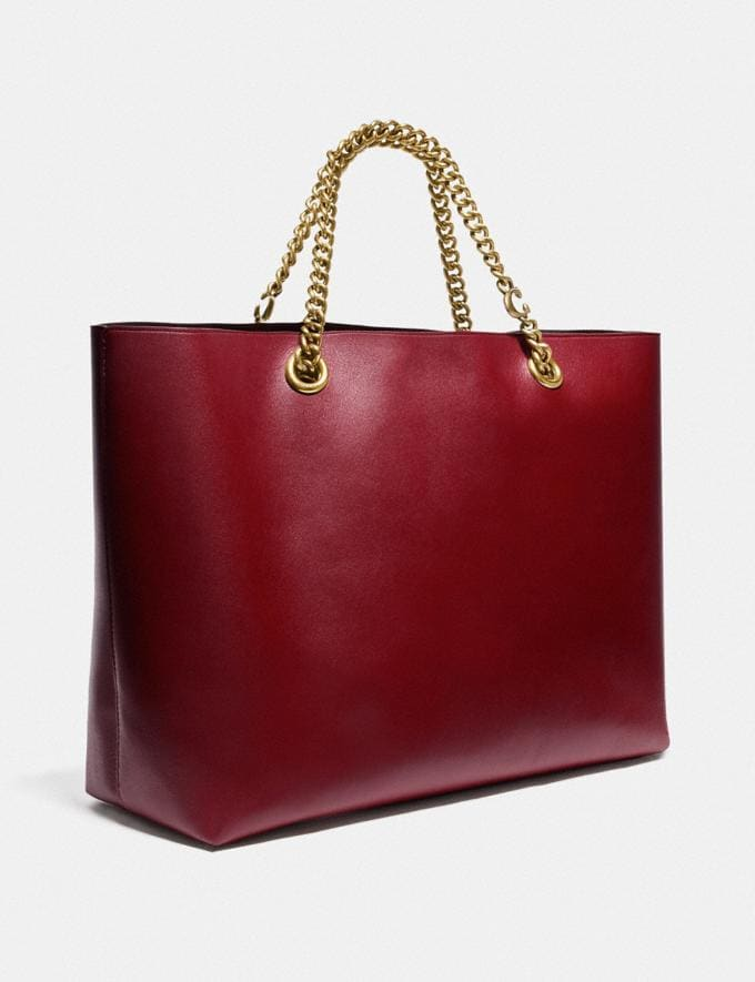 Coach Signature Chain Central Tote Brass/Deep Red Women Edits Work Alternate View 1