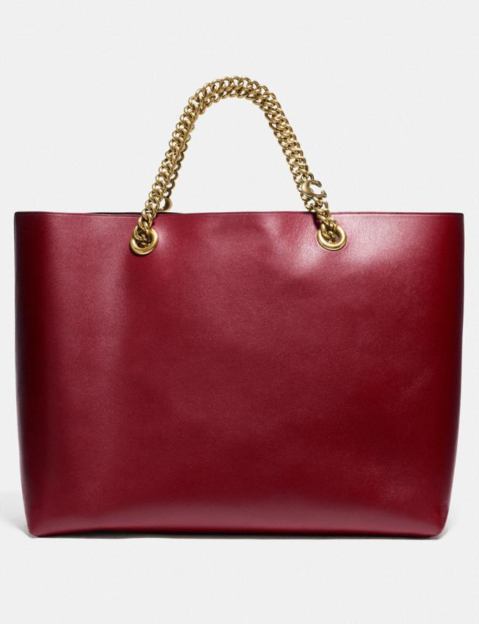 Coach Signature Chain Central Tote Brass/Deep Red Women Edits Work Alternate View 2