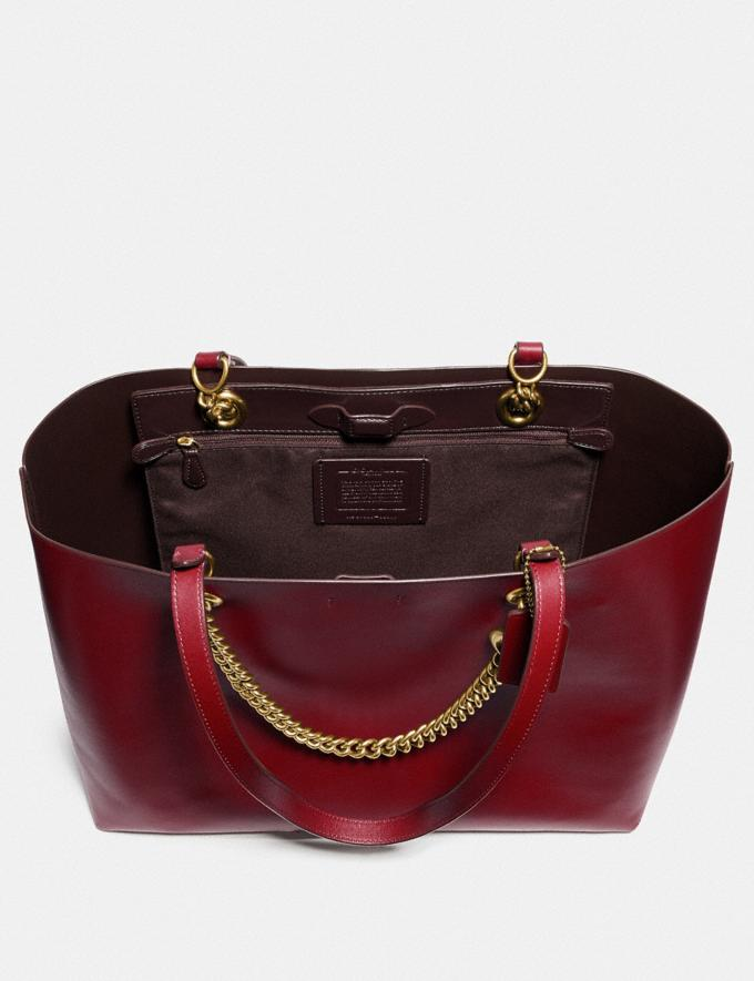 Coach Signature Chain Central Tote Brass/Deep Red Women Edits Work Alternate View 3