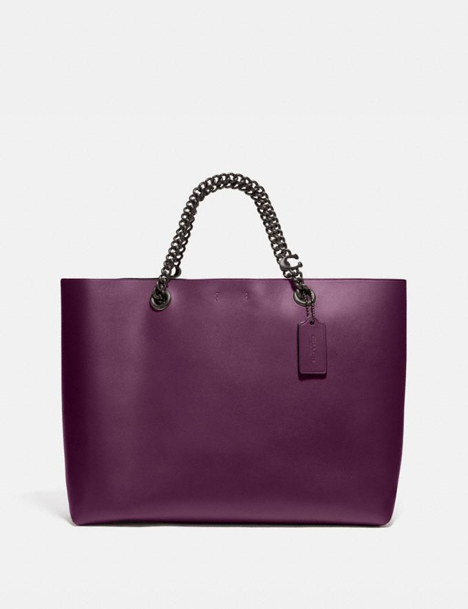 Coach Signature Chain Central Tote Pewter/Boysenberry Women Edits Work