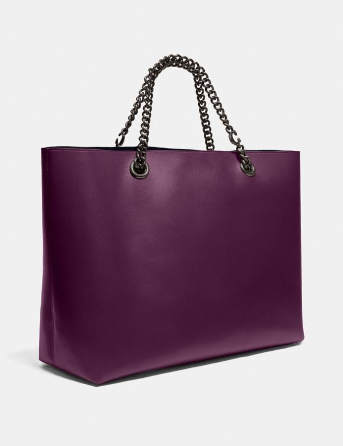 Coach Signature Chain Central Tote Pewter/Boysenberry Women Edits Work Alternate View 1