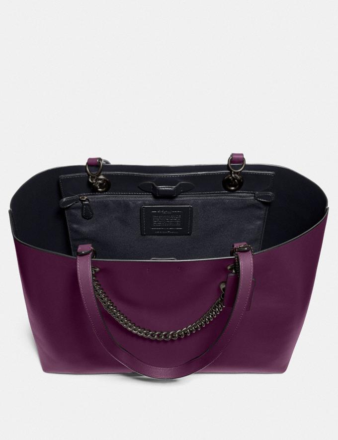 Coach Signature Chain Central Tote Pewter/Boysenberry Women Edits Work Alternate View 2