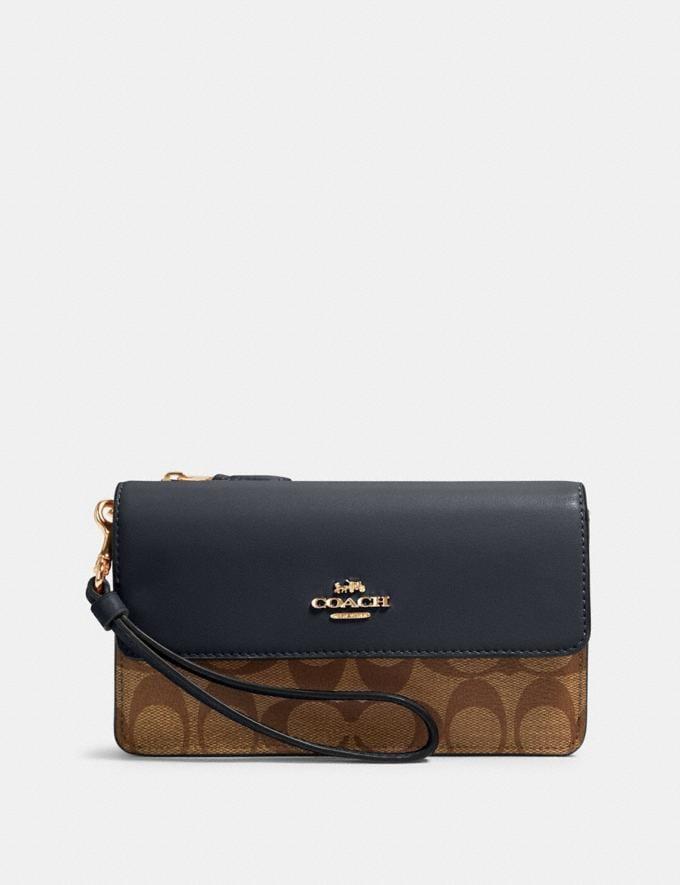 Coach Foldover Wristlet in Signature Canvas Im/Khaki Midnight Bags Bags Mini Bags & Clutches