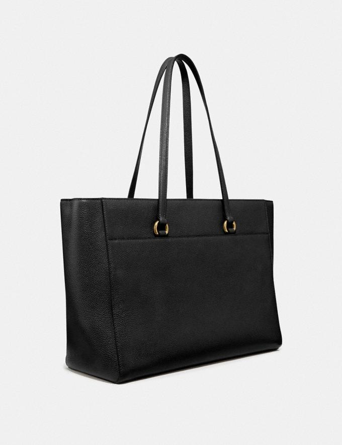 Coach Folio Tote Gold/Black Women Handbags Alternate View 1