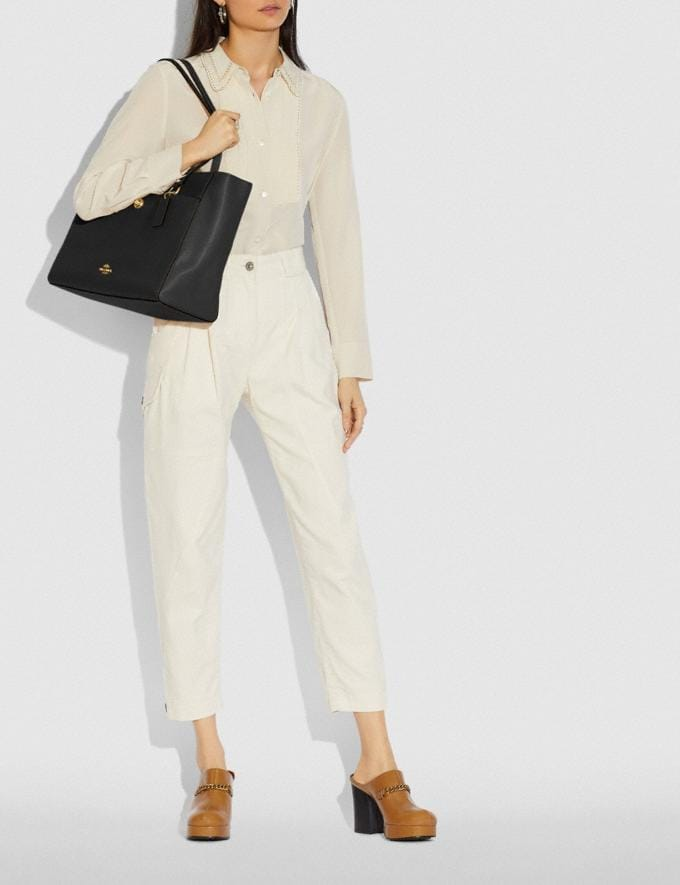 Coach Folio Tote Gold/Black Women Handbags Alternate View 4