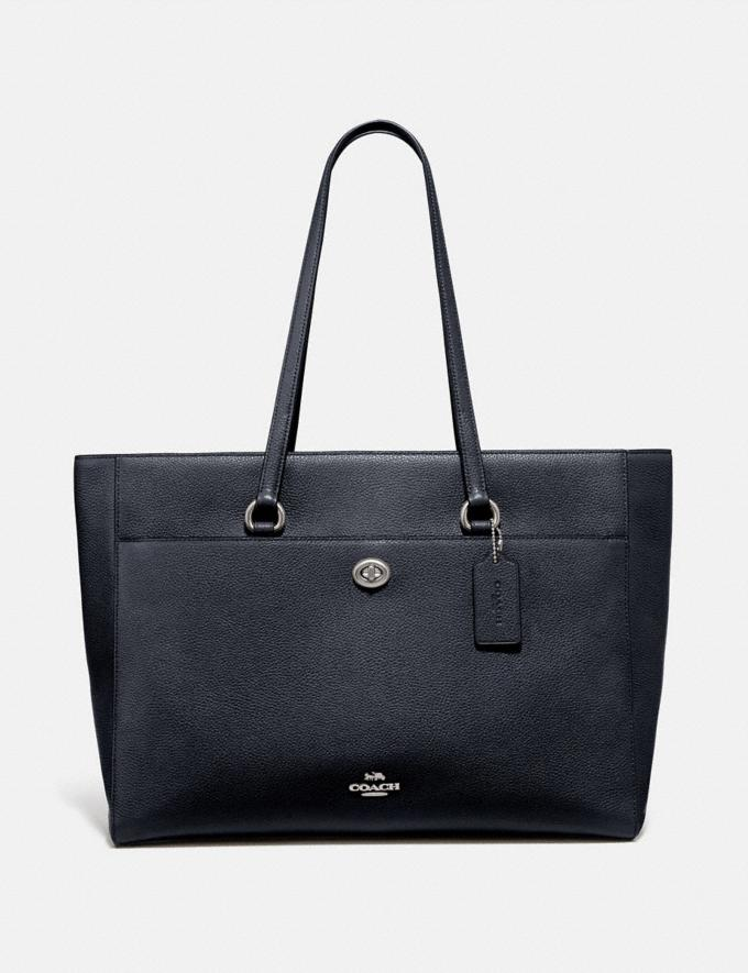 Coach Folio Tote Silver/Midnight Navy Women Edits Work