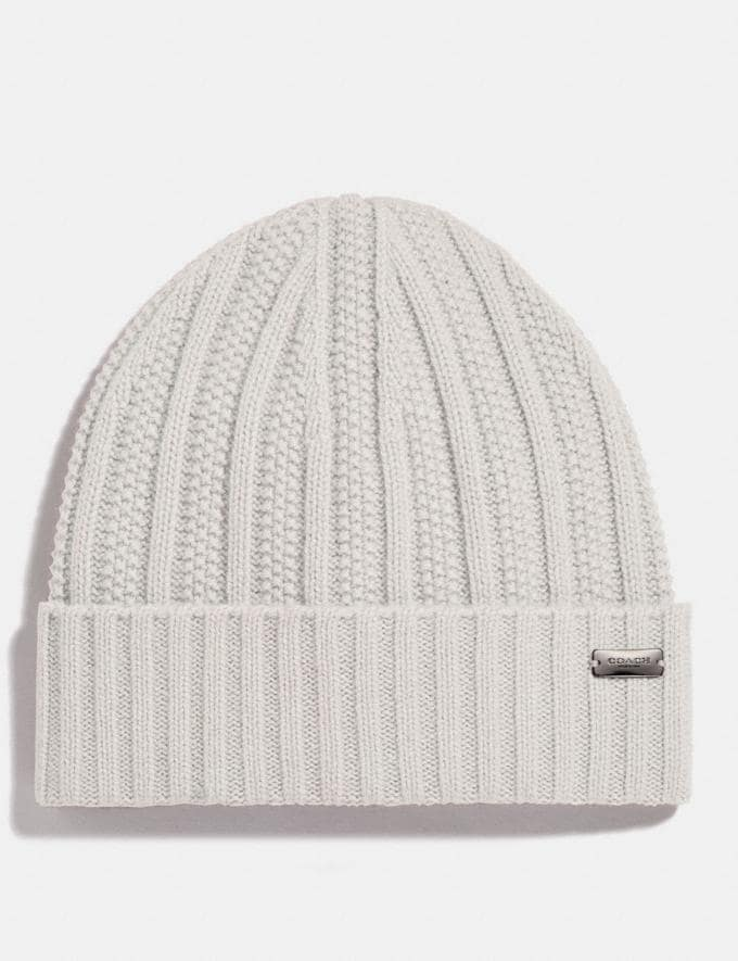 Coach Cashmere Seed Stitch Knit Hat Chalk Women Edits Cold Weather Edit