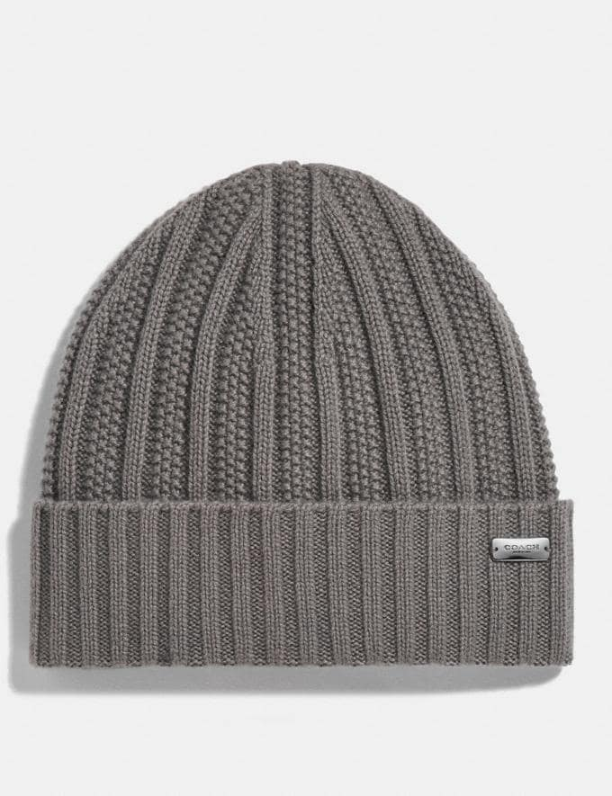 Coach Cashmere Seed Stitch Knit Hat Heather Grey Women Accessories Hats Scarves and Gloves