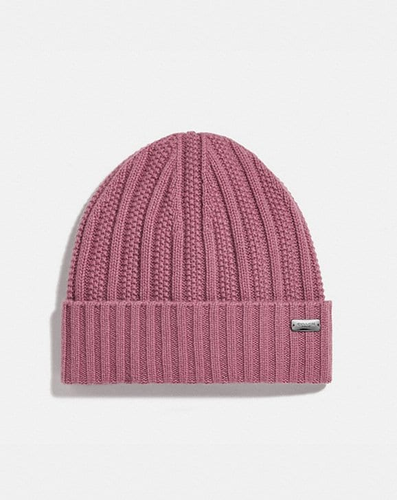 Coach CASHMERE SEED STITCH KNIT HAT