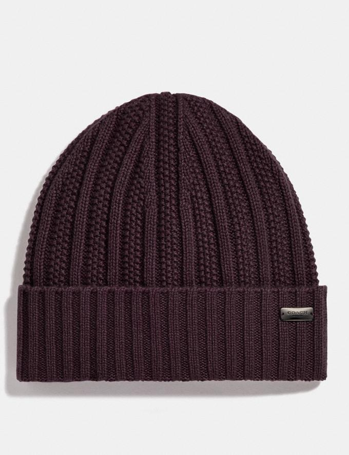Coach Cashmere Seed Stitch Knit Hat Oxblood Women Accessories Hats, Scarves & Gloves
