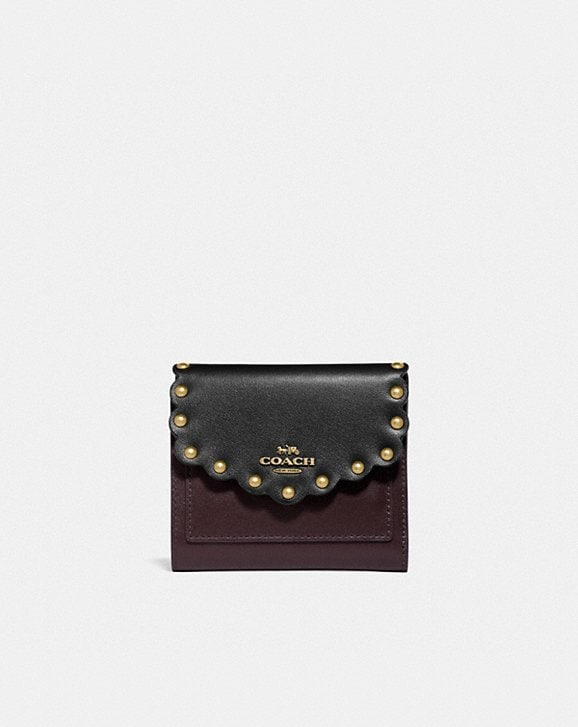 Coach SMALL WALLET IN COLORBLOCK WITH SCALLOP RIVETS