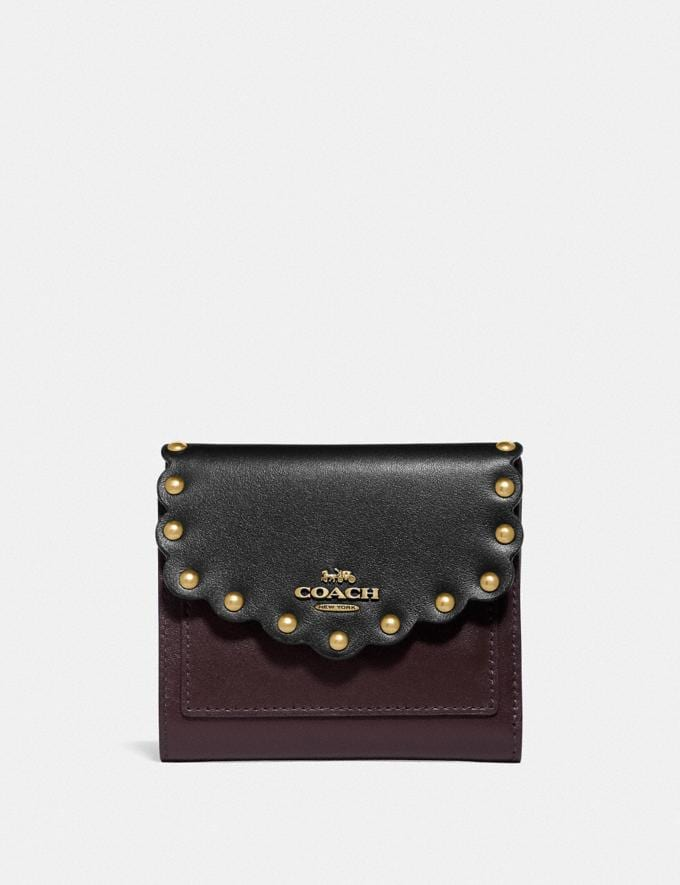 Coach Small Wallet in Colorblock With Scallop Rivets Black Multi/Brass Women Wallets & Wristlets Small Wallets