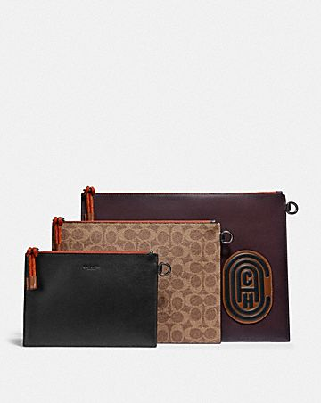 triple pouch in signature canvas with coach patch