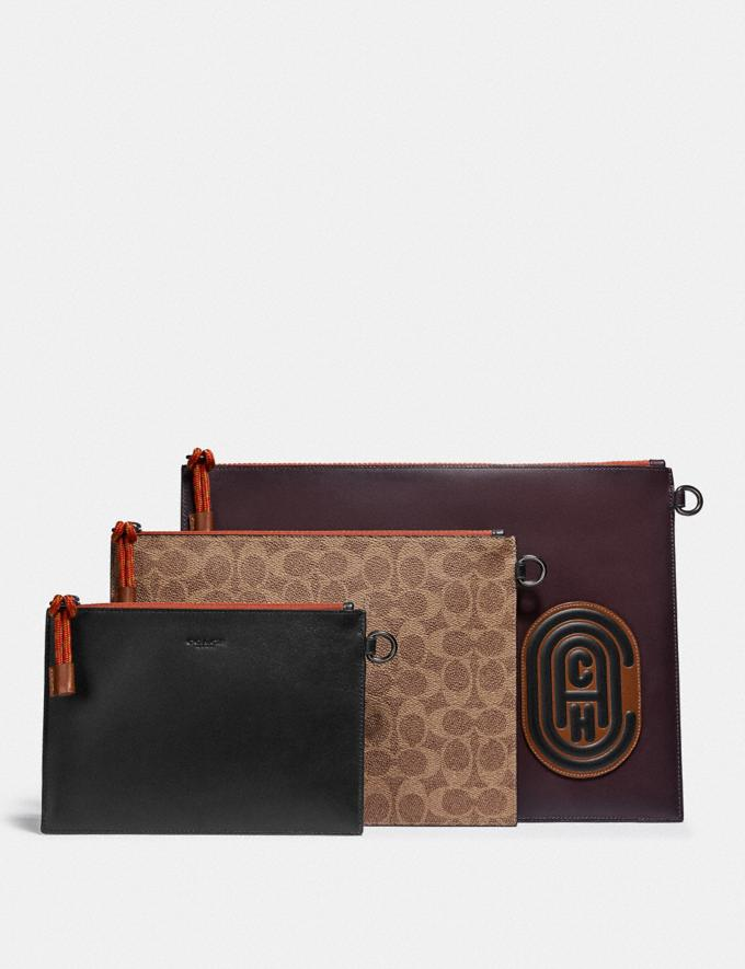 Coach Triple Pouch in Signature Canvas With Coach Patch Umber/Black/Oxblood Men Edits Travel