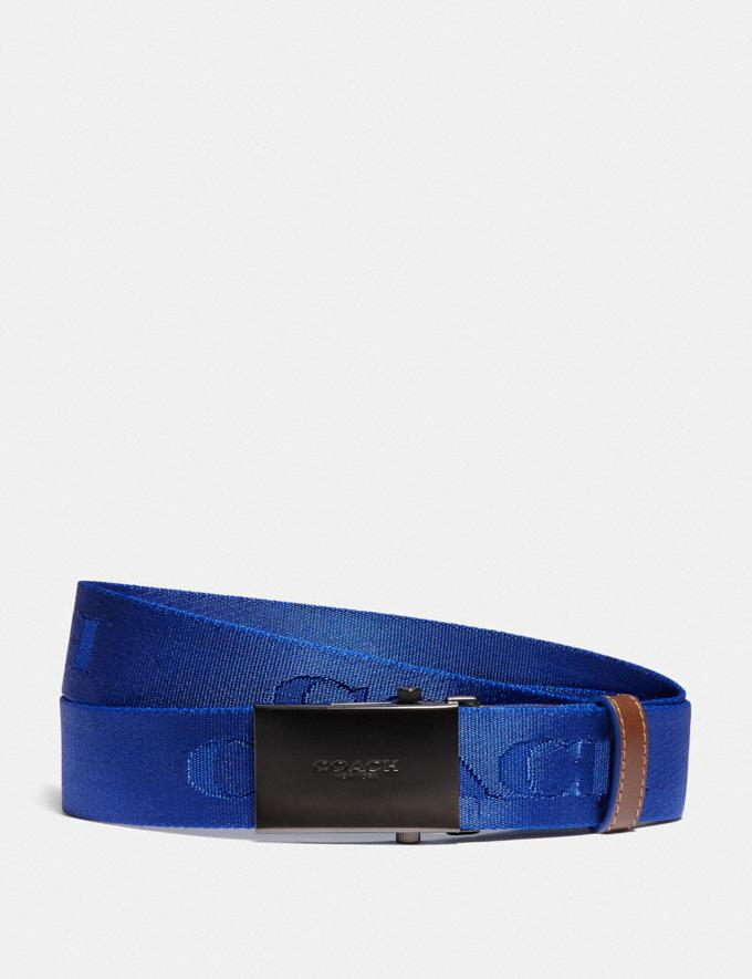 Coach Plaque Buckle Belt With Coach Print, 35mm Black Men Accessories Belts