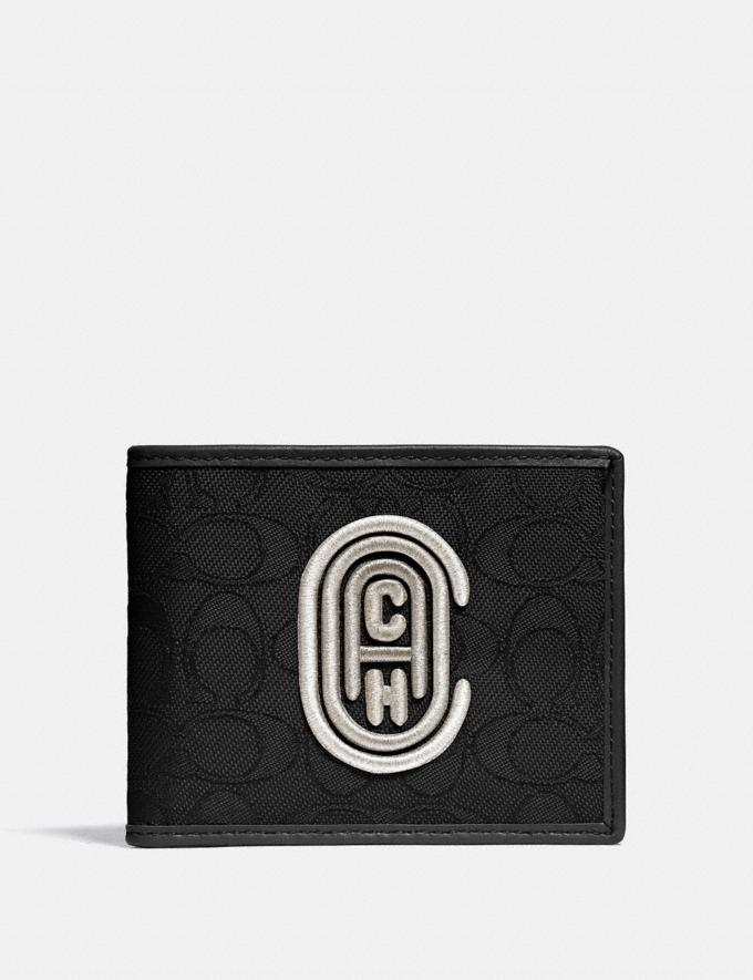 Coach Double Billfold Wallet in Signature Jacquard With Coach Patch Black/Chalk Men Wallets