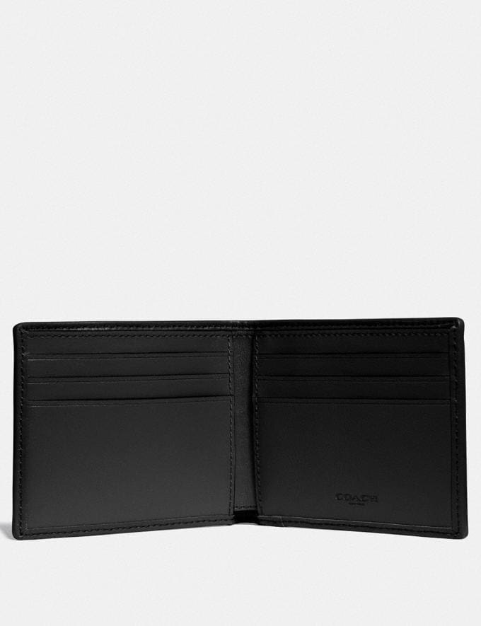 Coach Double Billfold Wallet in Signature Jacquard With Coach Patch Black/Chalk Men Wallets Alternate View 1