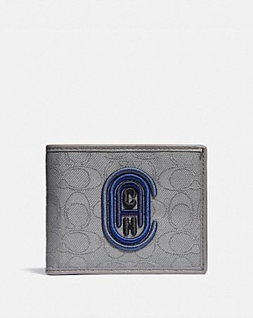 double billfold wallet in signature jacquard with coach patch