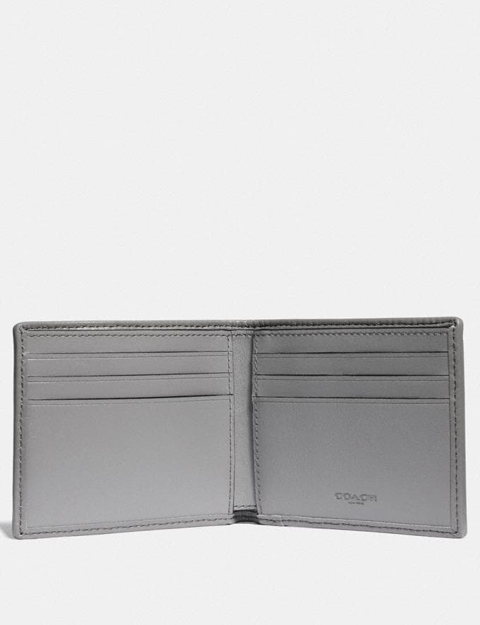 Coach Double Billfold Wallet in Signature Jacquard With Coach Patch Heather Grey/Blue Ombre Men Wallets Alternate View 1
