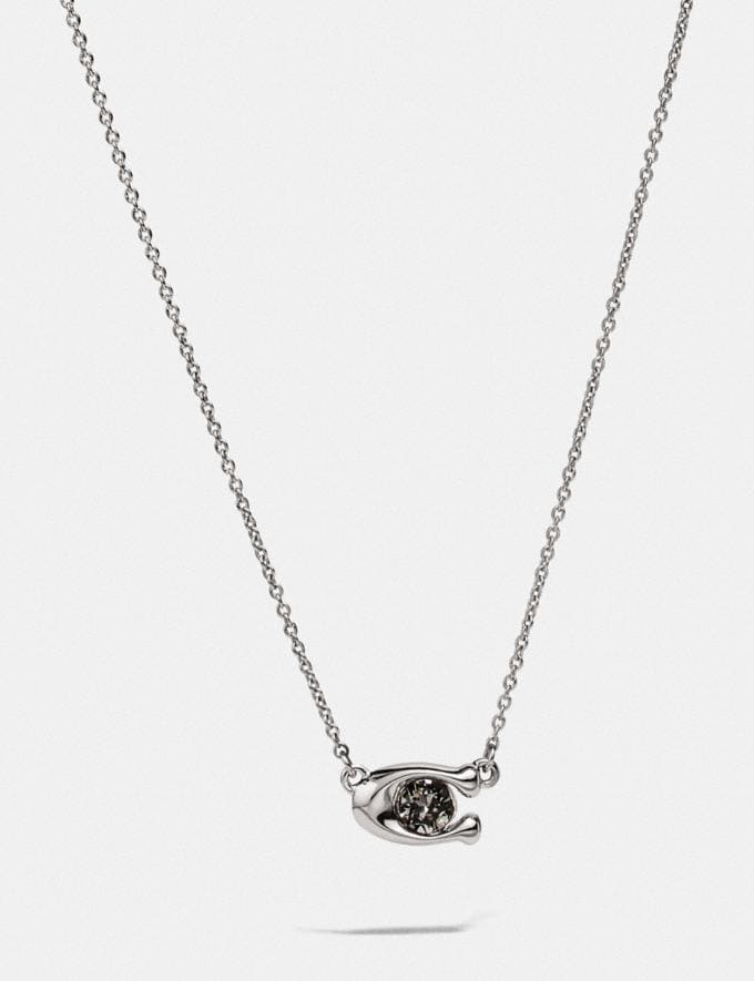 Coach Signature Stone Necklace Black/Silver Women Accessories Jewelry