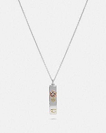 tea rose drop bar necklace