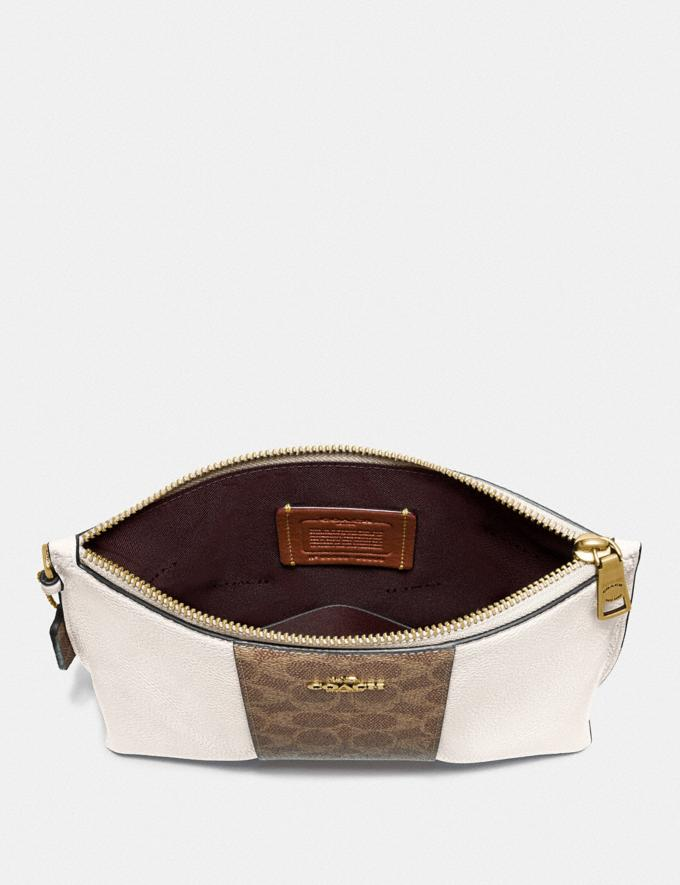 Coach Charlie Pouch With Signature Canvas Blocking Beige Women Small Leather Goods Wristlets Alternate View 1