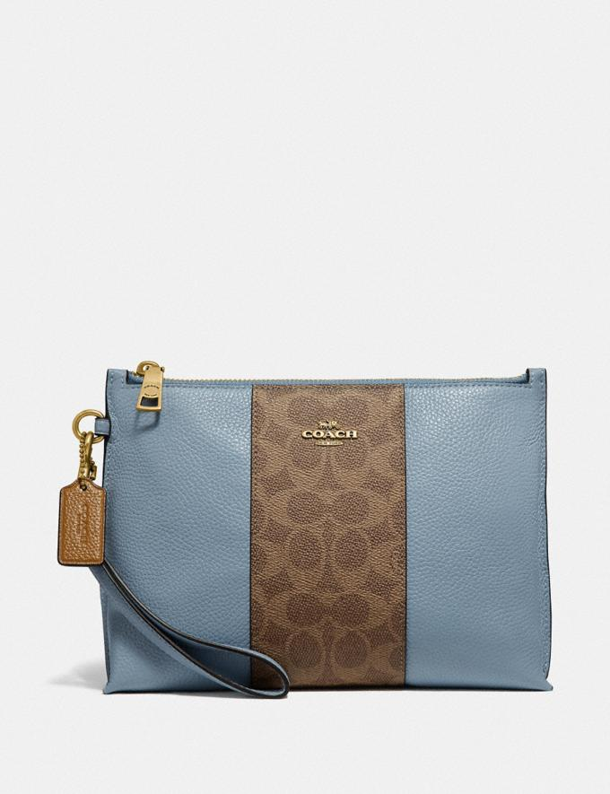 Coach Charlie Pouch With Signature Canvas Blocking Brass/Tan Mist Women Wallets & Wristlets Wristlets