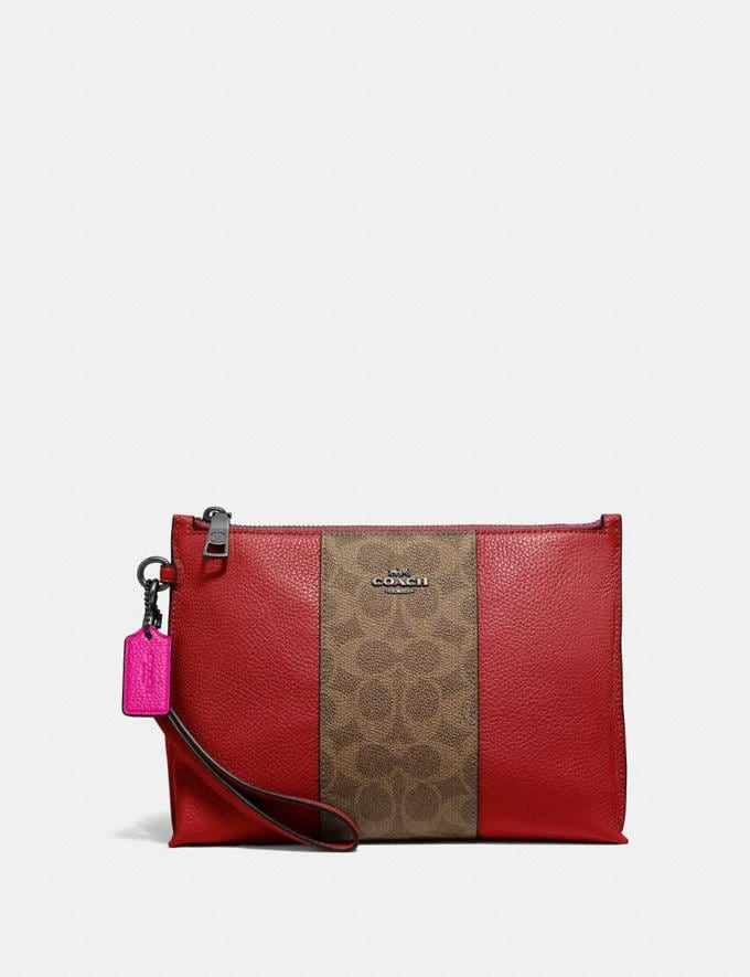 Coach Charlie Pouch With Signature Canvas Blocking Pewter/Tan Red Apple Women Bags Signature Bags