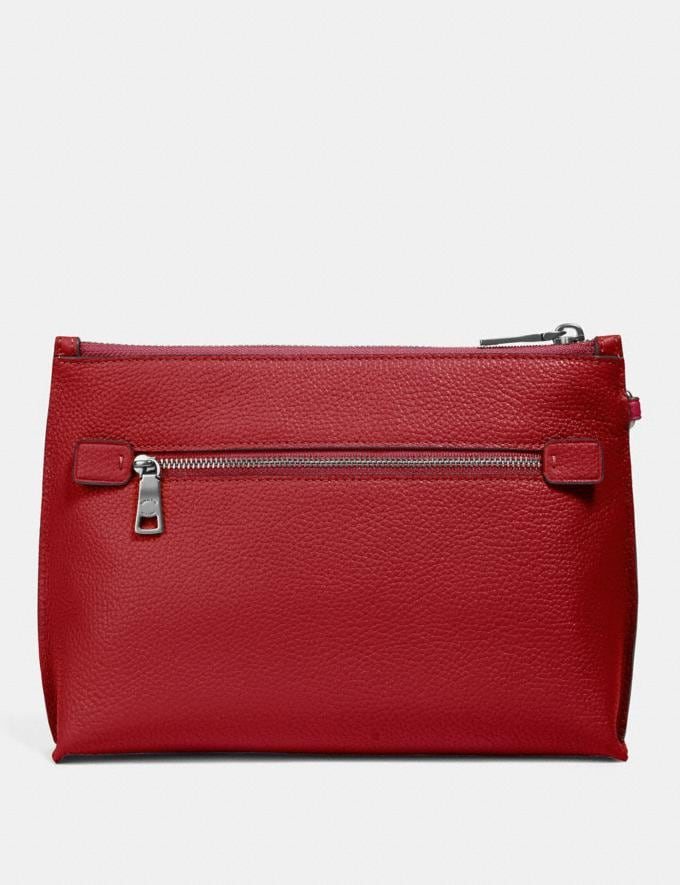 Coach Charlie Pouch With Signature Canvas Blocking Pewter/Tan Red Apple Women Bags Clutches Alternate View 2