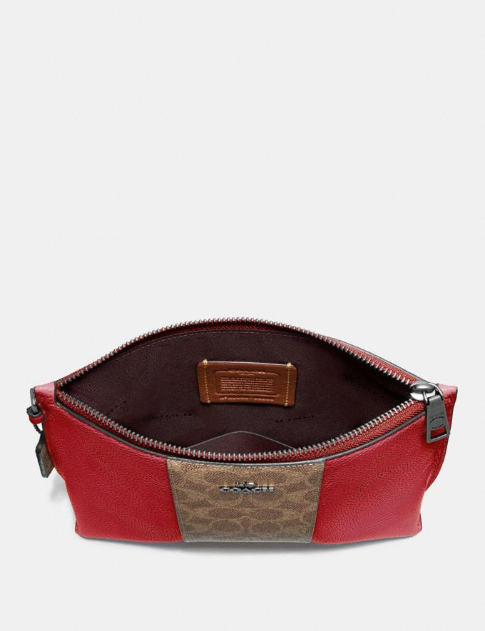 Coach Charlie Pouch With Signature Canvas Blocking Pewter/Tan Red Apple Women Bags Clutches Alternate View 3