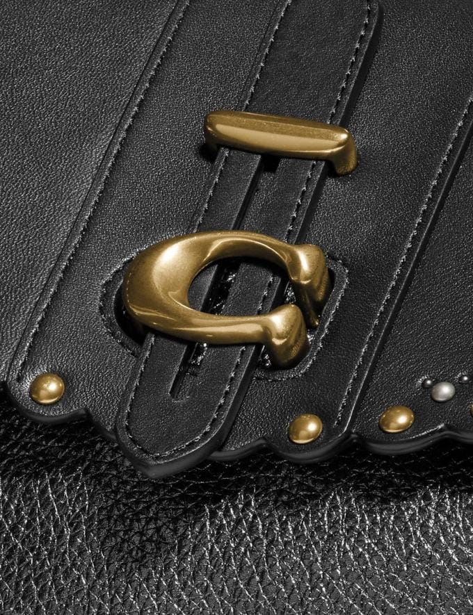 Coach Saddle 20 With Scallop Rivets Black/Brass  Alternate View 4