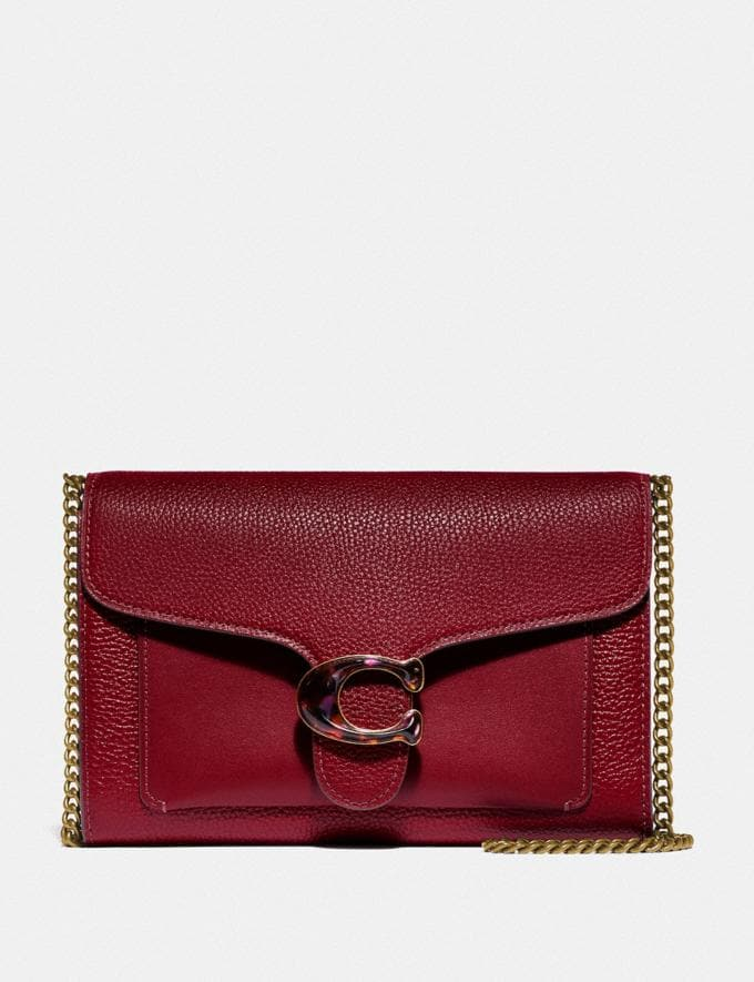 Coach Tabby Chain Clutch Brass/Deep Red Women Bags Crossbody Bags
