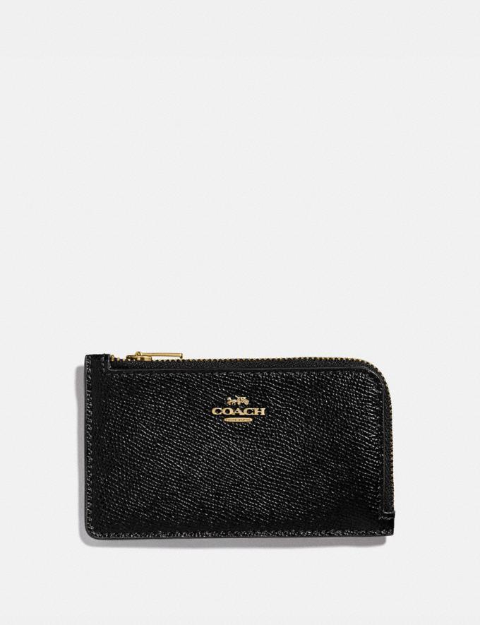 Coach Small L-Zip Card Case Gd/Black