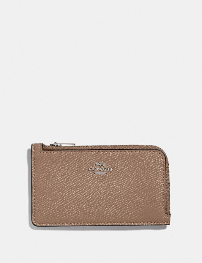 Coach Small L-Zip Card Case Lh/Taupe Women Small Leather Goods Card Cases