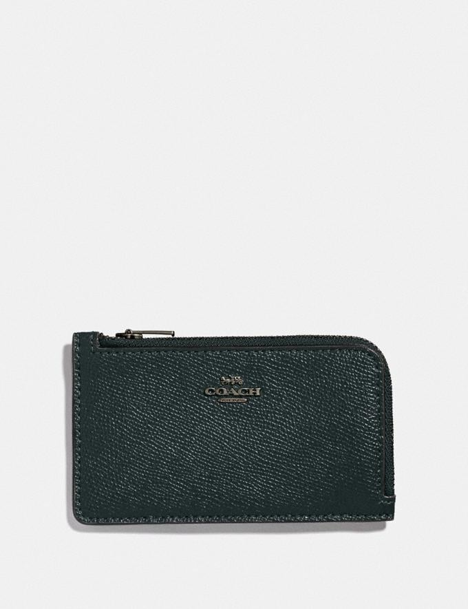 Coach Small L-Zip Card Case V5/Pine Green New Women's New Arrivals